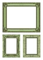 set 3 Vintage green frame with blank space, clipping path photo