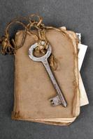Old usty key and old book