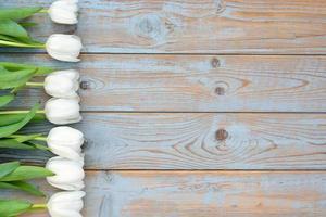 Tulipanes blancos en fila con espacio vacío en madera vieja foto