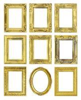 golden vintage frame isolated on white background photo