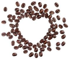 Coffee beans heart isolated on white background close up photo