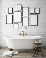 mock up poster frames in vintage hipster bathroom
