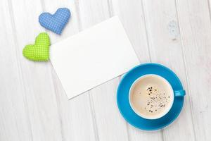 Valentines day toy heart, blank greeting card and coffee cup photo