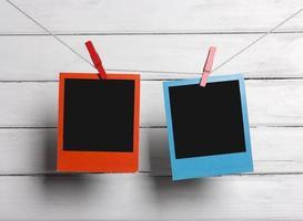 Photos on a clothesline