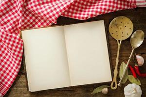 Blank cookbook and spices photo