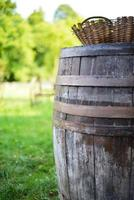wooden farm barrel