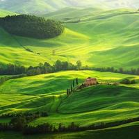 Farm on green field in Tuscany