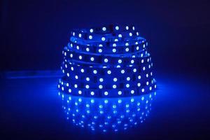 Blue glowing LED garland, strip