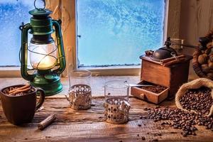 soirée glacée avec café chaud