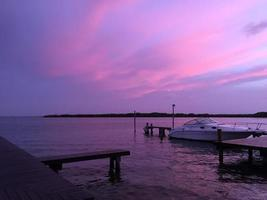 Yatch and purple sky photo