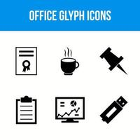 6 office glyph icons