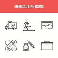 Medical line icons vector