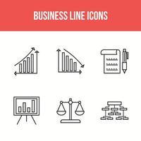 paquete de 6 iconos de línea empresarial vector