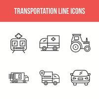 Transportation line icons vector