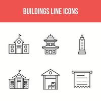 6 building line icons