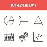 6 conjunto de iconos de línea de negocios vector