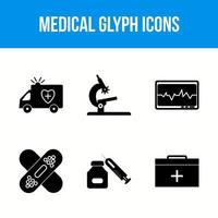 Medical glyph icons vector