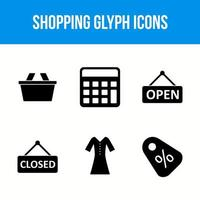 Set of shopping glyph icons vector