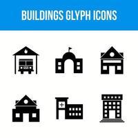 iconos de glifos de edificios y monumentos vector