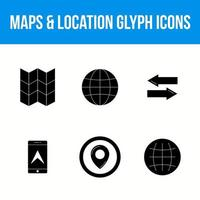 Set of maps and location 6 glyph icons vector
