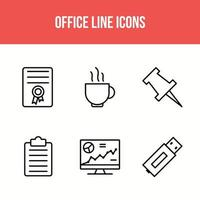 6 office line icons