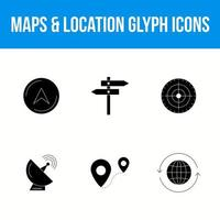 Maps and location glyph icon set