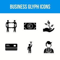 6 business glyph icons