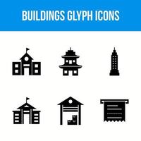 6 buildings glyph icons