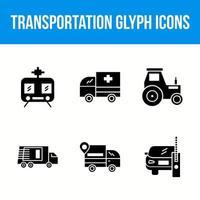 Transportation unique glyph icon set vector