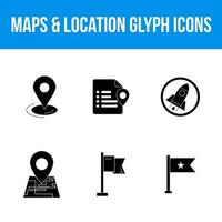 Maps and location glyph icons