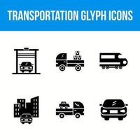 Set of transportation glyph icons