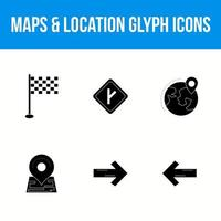 Set of beautiful maps and location glyph icons