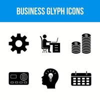 6 business glyph icon set