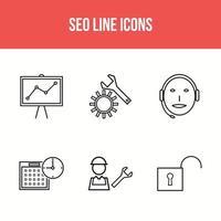 6 seo line icons
