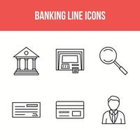6 banking line icons
