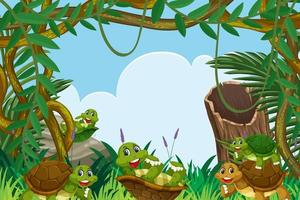 Turtles in jungle childrens frame design vector