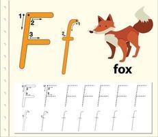 Letter F tracing alphabet worksheet