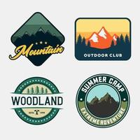 Outdoor adventure badge set vector