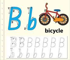 letter b tracering alfabet werkblad met fiets