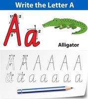 letter een traceringsalfabet-werkblad met alligator