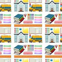 Set of stationery tools and school seamless vector