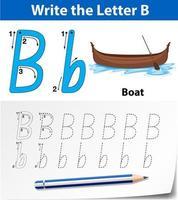 letter b tracering alfabet werkblad met boot