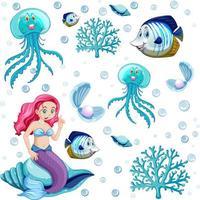 conjunto de animais marinhos e personagens de desenhos animados de sereia