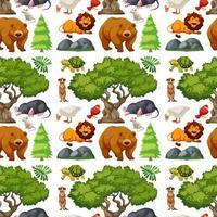 animales salvajes lindos y árboles de patrones sin fisuras