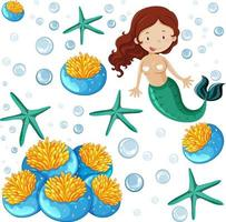 Set of sea animals and mermaid cartoon style