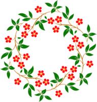 marco de flores y hojas rojas