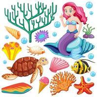 conjunto de animais marinhos e estilo desenho de sereia