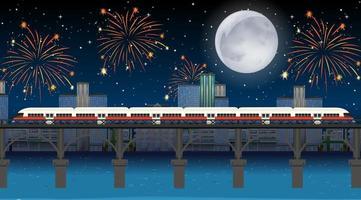tren cruza el río con fuegos artificiales de celebración