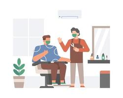 Barber and Client Wearing Face Mask
