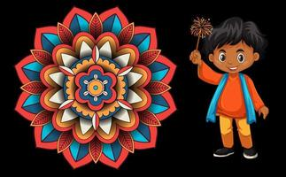 Background design with happy kid and mandala vector